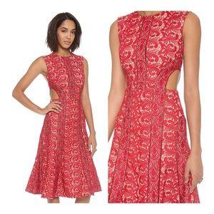 NEW SELF PORTRAIT Red Lace Starlet Midi Dress